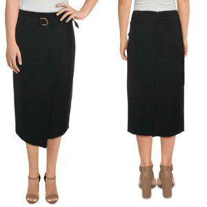 Donna Karan Faux Wrap Belted Skirt